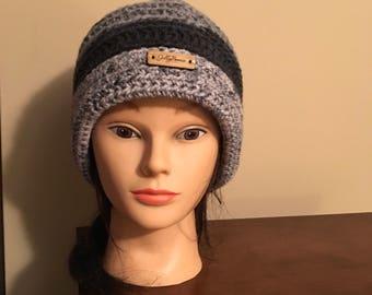 Black/Gray Cuffed Winter Hat
