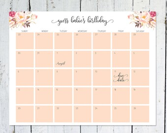 Due Date Calendar, Boho, Floral, Guess Baby's Due Date, Birthday Predictions, Printable