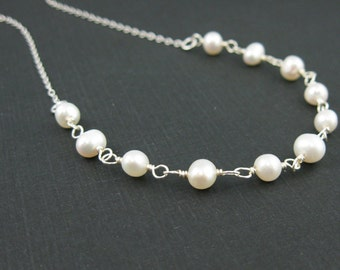 Sterling Silver Necklace - Fresh Water Pearl Necklace  - Everyday Necklace - Wedding Bridal Jewelry