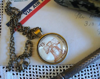 Stamp Jewelry, Stamp Necklace, Vintage Stamp, Stamp Pendant, Pendant Necklace, One of a Kind, Liberty Bell Stamp, MarjorieMae