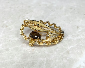 Vintage Flower Pin, Flower Brooch, Filigree Flower, Filigree Brooch, Vintage Filigree Pin, Gold Filled Brooch, Gold Filigree Pin, Rhinestone