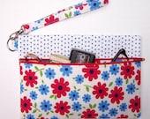 Red Floral Wristlet, Blue White Clutch Wallet, Blue Polka Dot  Zippered Makeup Bag, Small Purse, Front Zip Camera or Phone Bag, Gadget Bag