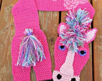 Crochet Horse Scarf in Pink Ready To Ship!
