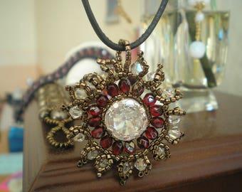 Ara Macao swarovski crystal pendant and bronze