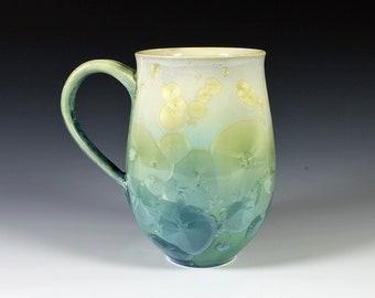 Sea Green Crystalline Glazed Mug: 14 oz