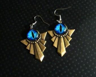 Art Deco Style Dragon Eye Earrings