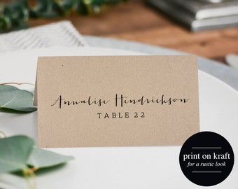 Rustic Wedding Place Cards, Printable Template, Flat Place Cards, Seating Cards, Printable Template, PDF Instant Download #BPB165_6
