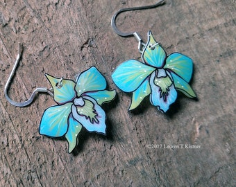 Blue and Yellow Orchid Dangle Earrings