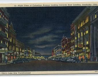 Columbus Avenue Night Scene Sandusky Ohio 1950s linen postcard