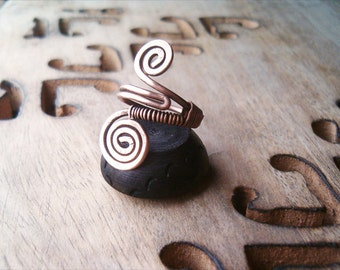Wire Wrapped Adjustable Copper Ring - wire wrapped ring handmade
