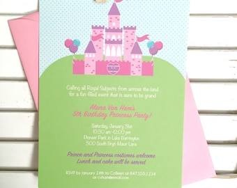 Princess party invitation, princess birthday party invitation, first birthday, royal ball party invitation, toddler birthday, set of 10