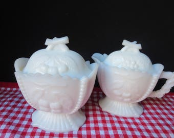 Very Nice Westmoreland Milk Glass Beaded Cherry and Grape Sugar and Creamer Set with Two Lids