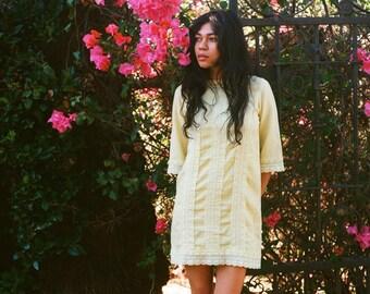 Dandelion Fields Vintage 1960s Handmade Yellow Linen and Crochet Dress