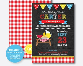 Instant Download, Editable Picnic Birthday Invitation, Picnic Invitation, Picnic Party Invitation, Red Gingham Invite, Chalkboard (CKB.121B)