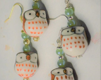 Glass Woodland Owl Bead & Green Quartz Dangle Drop Earring: Silver OR Gold Tone - Choose One - Animal Jewelry