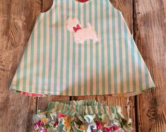 Reversible Baby Pinafore, matching ruffled Bloomers, Westie Dog applique
