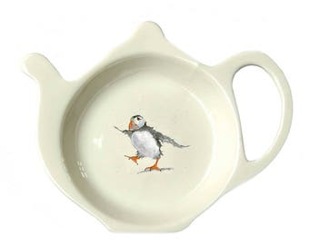 Puffin Teabag Tidy - Housewarming Gift - Puffin Gift - Fine Bone China - Afternoon Tea - Made in England