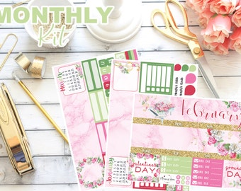 February Monthly Spread Kit #1 || 130+ Planner Stickers || Erin Condren Life Planner