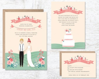 Wedding Invitation Template, Portrait Wedding Invitation, Custom Couple Invitations, Wedding Invitation Printable, Wedding Invites UK