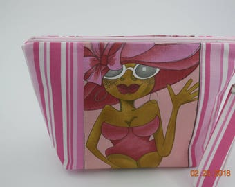 Large Makeup bag, Purse,  Pouch, Organizer, Toiletry bag, Clutch, Wristlet, Gadget bag, Cosmetic Bag, Toiletry Bag, Woman, Loralie Designs