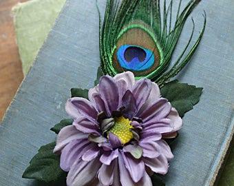 Simple Lavender Aster Hair Clip Fascinator - Wedding, Steampunk, Fairy, Reniassance Festival, Tribal Fusion, Belly Dance