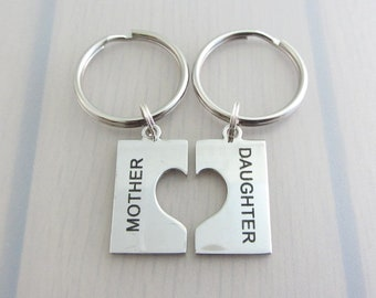 Mother Daughter Keychain Set, Heart Charm Keychain, Mother Daughter Charm Keyring, Stainless Steel Keychain, Mothers Day Gift, Gift For Her