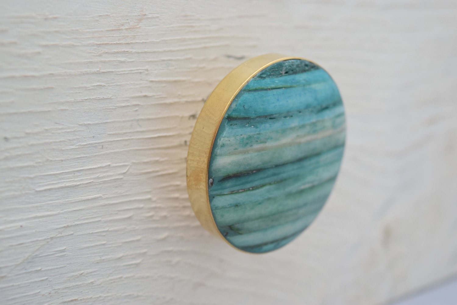 Gold Drawer Knobs with Teal Stone Inlay, Drawer Pull, Cabinet Pull ...