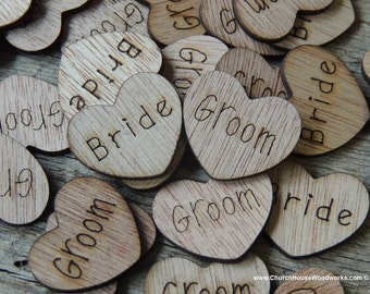 """100 Bride Groom 1"""" Wood Hearts, Wood Confetti Engraved Love Hearts- Rustic Wedding Decor- Table Decorations- Small Wooden Heart"""