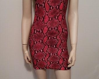 Red snakeskin print strapless dress