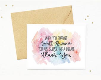 INSTANT DOWNLOAD | Watercolor Style Small Business Thank You Card | 3.5x5 (folded) | 2 cards per sheet | Unlimited Printing