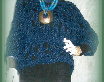 SWEATER WOMANS KNITTED Open Stitch Bulky Chunky Short  Oversized