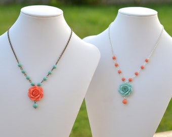 Coral and Dusty Mint Rose Asymmetrical Necklaces, Coral and Green mint Bridesmaid Necklace