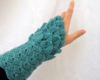 Crocodile Stitch Oil Green Gauntlets-Fingerless Gloves