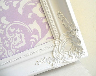 Purple Nursery Decor MAGNET BOARD White Picture Frame Damask Fabric Board Bulletin Board Girls Room Desk Organizer Wall Decor Cork Board