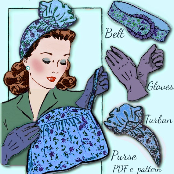1940s Accessories: Belts, Gloves, Head Scarf Sew 1940s Ruffled TURBAN Hat GLOVES Belt Purse Bag Vintage e-Pattern Swing WWII era pattern Pdf download $3.99 AT vintagedancer.com