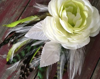 Spring Rose Flower and Feather Fascinator