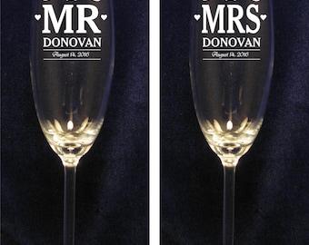 Personalized Wedding Toasting Flutes