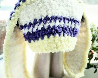 12 to 24m Bunny Girl Baby Hat Stripe Yellow Purple Cream Bunny Hat Crochet Girl Toddler Hat Rabbit Baby Hat Photo Prop, Baby Gift