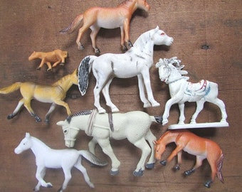 Toy Horses Plastic Play Horses Vintage Herd of Tiny Horses