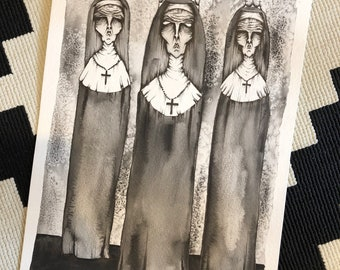 They're Here Print, nuns, watercolor, drawing, wall art, art, wall decor