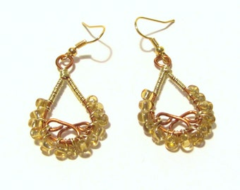 Gold and Copper Wire Wrapped Earings