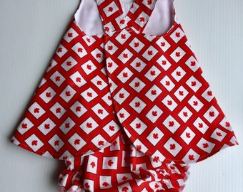 Canada Day Dress, Bloomers, 3-6 month, Maple Leaf, Baby Sundress, Reversible Pinafore, Baby Girl Sundress, BloomerDress, Patriotic