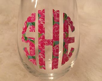 Lilly Pulitzer Inspired Monogram Stemless Wine Glass