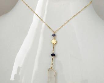 Clear Quartz Necklace Crystal Quartz Necklace Quartz Necklace Tanzanite necklace Healing Necklace Gemstone Necklace Layering Necklace
