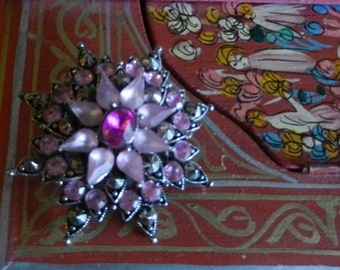 Vintage Pink Rhinestone Star Brooch Silver Tone 3 Shades of Pink Star Pin