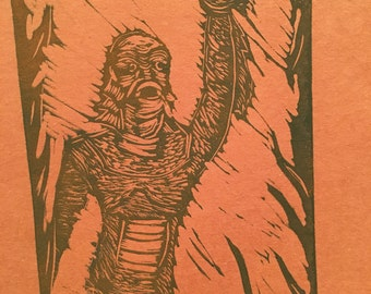 Creature from the black lagoon lino block print