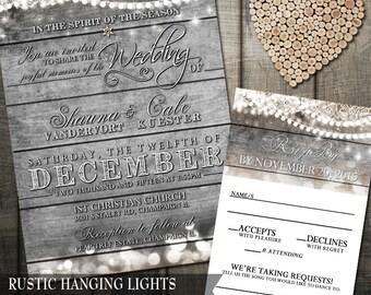 Rustic Hanging Lights Wedding Invitation with barn wood and bokeh lights | Wood Grain Hanging Lights Printable | Wedding invite & rsvp DIY
