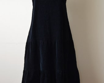 Vintage 90's black cord pinafore dress small