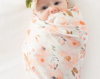 Organic cotton swaddle blanket in Indy Bloom Peachy Blossom - Watercolor Floral, Flowers