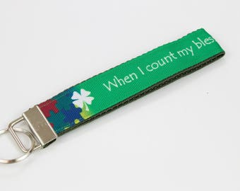 When I count my blessings, I count you twice Key Chain with olive or yellow backing